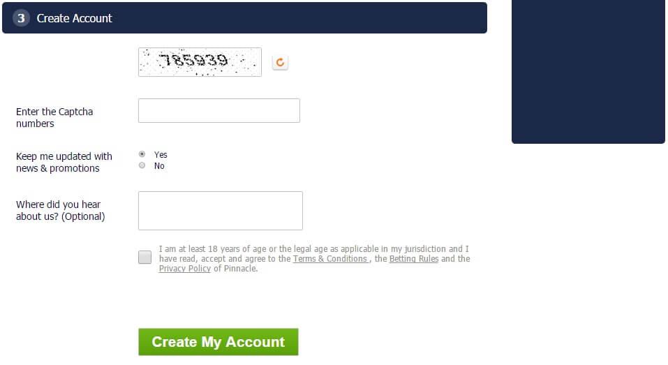 Форма за регистрация от Pinnacle - 4